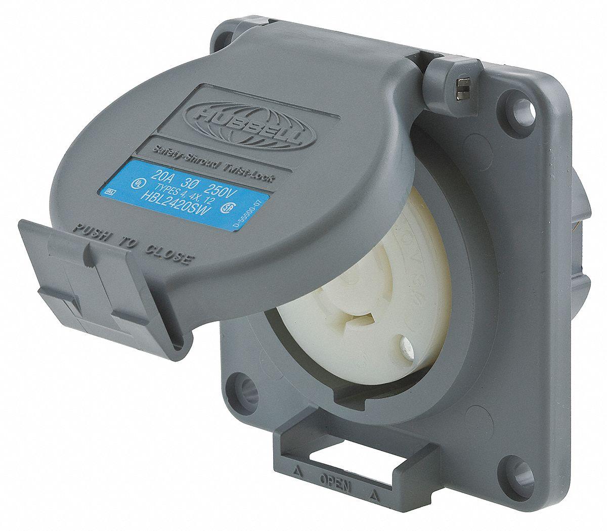 Hubbell Wiring Device Kellems Gray Watertight Locking
