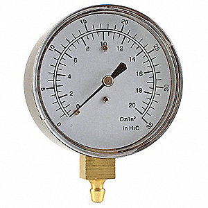 "Pressure Gauge, Low Pressure Diaphragm Gauge Type, 0 to 35"" H2O, 0 to 20 oz./sq. in. Range, 2-1/2"" D"