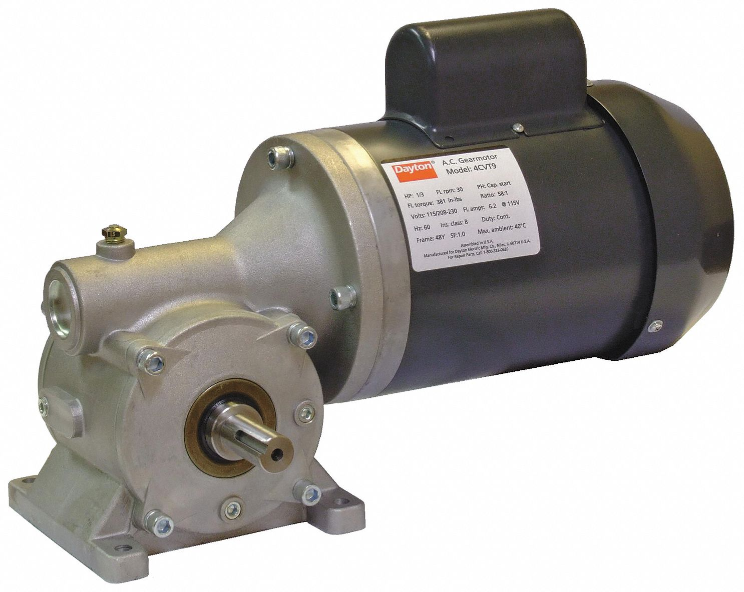 Dayton Ac Gearmotor Right Angle 100 Rpm 4cuk7 4cuk7
