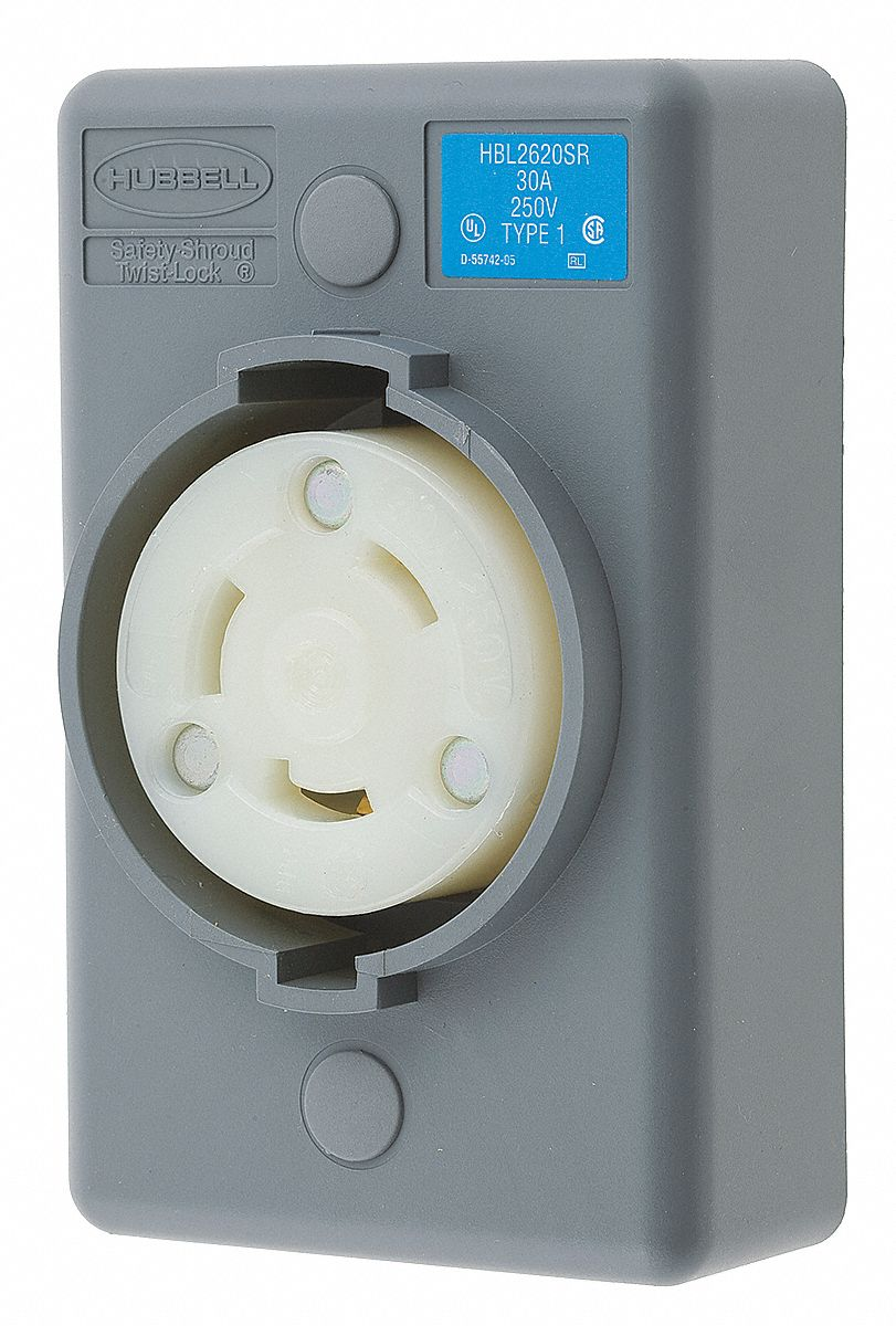 Hubbell Wiring Device Kellems Gray Locking Receptacle 30