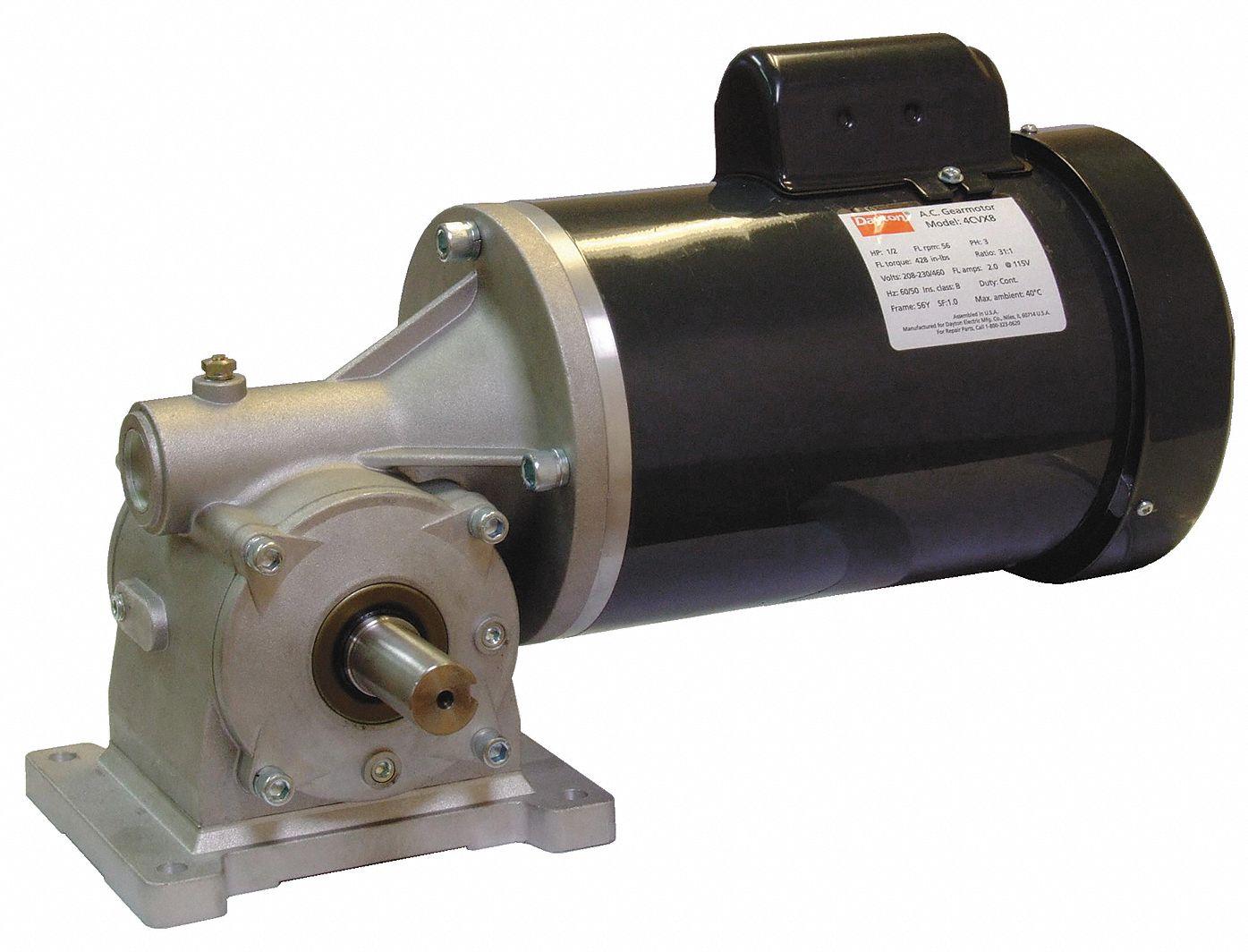 Dayton ac gearmotor 115 208 230 nameplate rpm 30 max for Dayton gear motor catalog