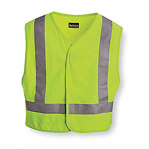 Lime Flame Resistant High Visibility Vest, Size: L/XL, 2 ANSI Class, Hook-and-Loop Closure Type