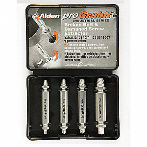 Drill/Extractor Set,4 PC,#4-3/8 In Cap