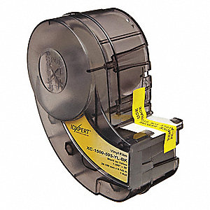 "Black/Yellow Vinyl Film Label Tape Cartridge, Indoor/Outdoor Label Type, 30 ft. Length, 1-1/2"" Width"
