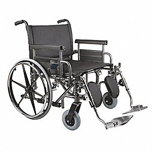 Wheelchair,700lb,28 In Seat,Silver/Black