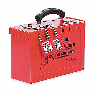 "Red Steel Group Lockout Box, Max. Number of Padlocks: 12, 6"" Height, 9-1/4"" Width"