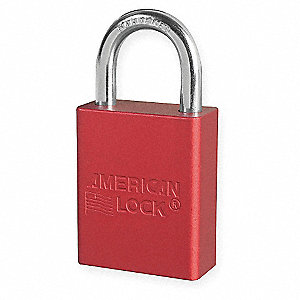 Red Lockout Padlock, Different Key Type, Master Keyed: No, Anodized Aluminum Body Material