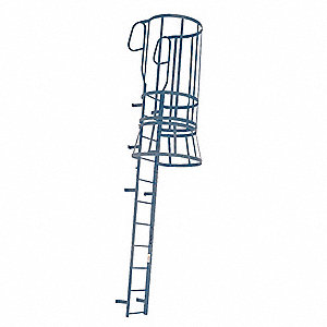 "Fixed Ladder with Safety Cage, Steel, 15 ft. 8"" Overall Height, 22"" Overall Width"