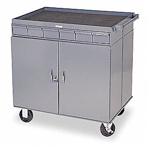 Gray Mobile Workbench Cabinet, 1200 lb. Load Capacity, (2) Rigid, (2) Swivel with Brakes Caster Type