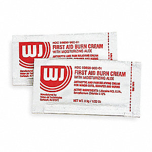 Burn Cream with Aloe, Application: Burn Relief, Size: 0.9g, Pouch Package Type