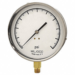 "Pressure Gauge, Mechanical Contractors Gauge Type, 0 to 200 psi Range, 4-1/2"" Dial Size"