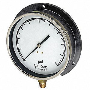 "Pressure Gauge, Mechanical Contractors Gauge Type, 0 to 60 psi Range, 4-1/2"" Dial Size"