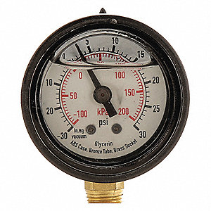 "Pressure Gauge, Liquid Filled Gauge Type, 0 to 160 psi, 0 to 1100 kPa Range, 1-1/2"" Dial Size"