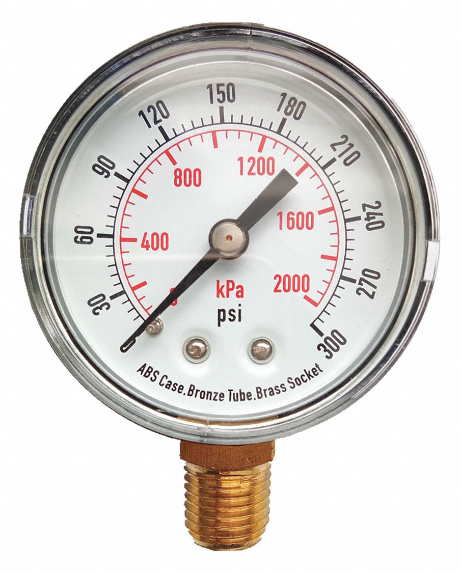 Grainger Approved Pressure Gauge 0 To 300 Psi 0 To 2000