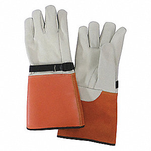 "Electrical Glove Protector, Beige/Orange, Cowhide Leather, 15"" Length"