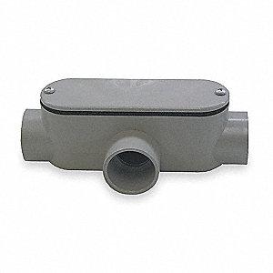 Conduit Outlet Body, PVC, T Body Style, Not Threaded, Flat Back