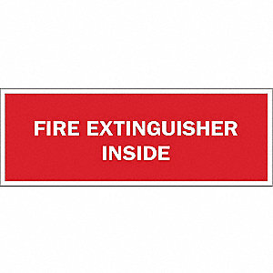 Fire Extinguisher Sign,5 x 14In,WHT/R