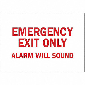 Emergency Exit Fire Sign,7 x 10In,R/WHT