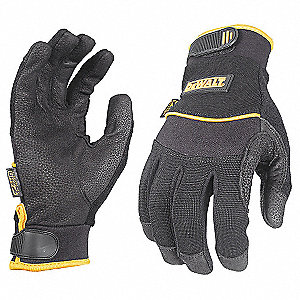 General Utility Mechanics Gloves, Leather Palm Material, Black, 2XL, PR 1