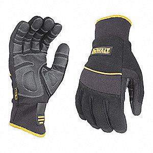 Cold Protection Gloves, Fleece Lining, Safety Cuff, Black, M, PR 1