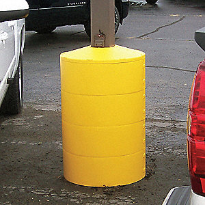 "Light Pole Base Cover, Yellow, For Post Size 4"", For Post Shape Square"