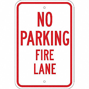 Fire Lane Sign,18 x 12In,R/WHT,ENG,Text