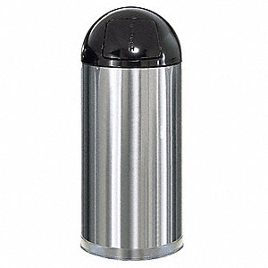 15 gal. Round Silver Side Opening Trash Can
