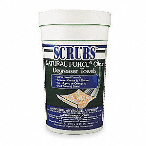 "Solvent and Degreaser Wipes, 10-1/2 x 12-1/4"", 30 Wipes per Container, 1 EA"