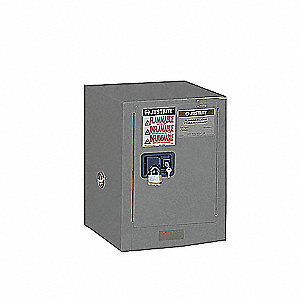 JUSTRITE Flammable Safety Cabinet, 12 Gal., Gray - 4HTV6 ...