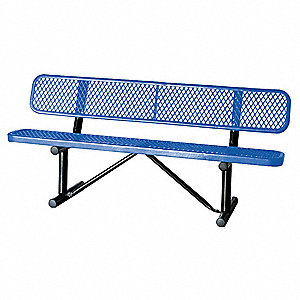 Outdoor Bench,72 in. L,24 in. W, Blue