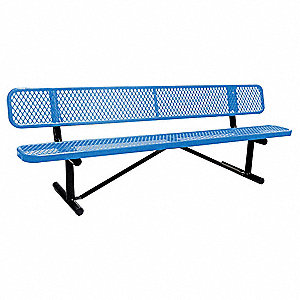Outdoor Bench,96 in.,24 in. W,Blu,Prtbl