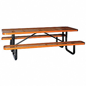 "Picnic Table, W x96"" D,Brown"