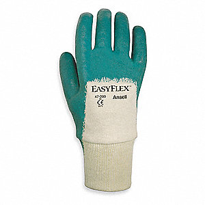 Nitrile Coated Gloves, White/Green