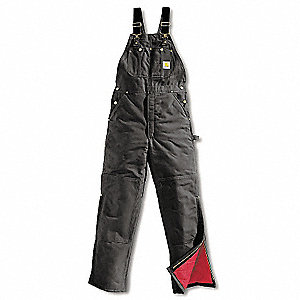 "Men's Firm Hand Bib Overalls, Lining Material: 100% Quilted Nylon Polyester, Inseam: 32"", Fits Waist"