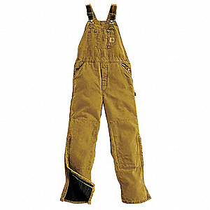 "Men's Bib Overalls, Lining Material: 100% Quilted Nylon Polyester, Inseam: 30"", Fits Waist Size: 36"""