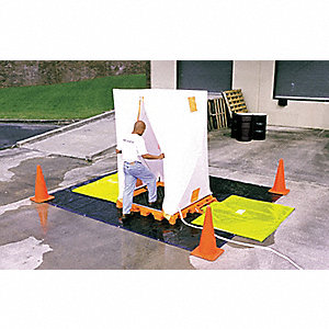 "Hospital Decon Deck, Orange Polyethylene, Height 52"", Width 5-3/4"", Length 61-1/4"""