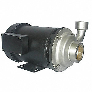 304 Stainless Steel 1-1/2 HP Centrifugal Pump, 3 Phase, 208-230/460 Voltage