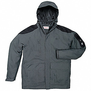 "Men's Charcoal Nylon Rain Jacket with Hood, Size L, Fits Chest Size 42"" to 44"", 33"" Jacket Length"