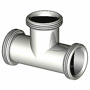 Tee, 304 Stainless Steel, Male Acme Thread Connection Type