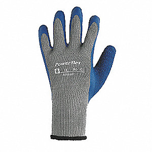 Natural Rubber Latex Cut Resistant Gloves, ANSI/ISEA Cut Level 2, Polyester/Cotton Lining, Blue/Gray