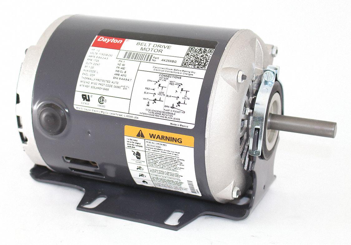 Dayton 1 2 hp belt drive motor split phase 1725 for Dayton gear motor catalog