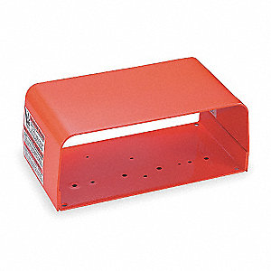 "Orange Steel Foot Switch Guard, 6"" Length, 11"" Width, 4-1/2"" Depth"