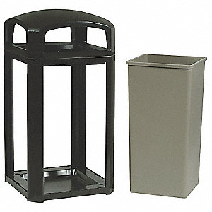 50 gal. Landmark Series®, Black, Polycarbonate, Trash Can
