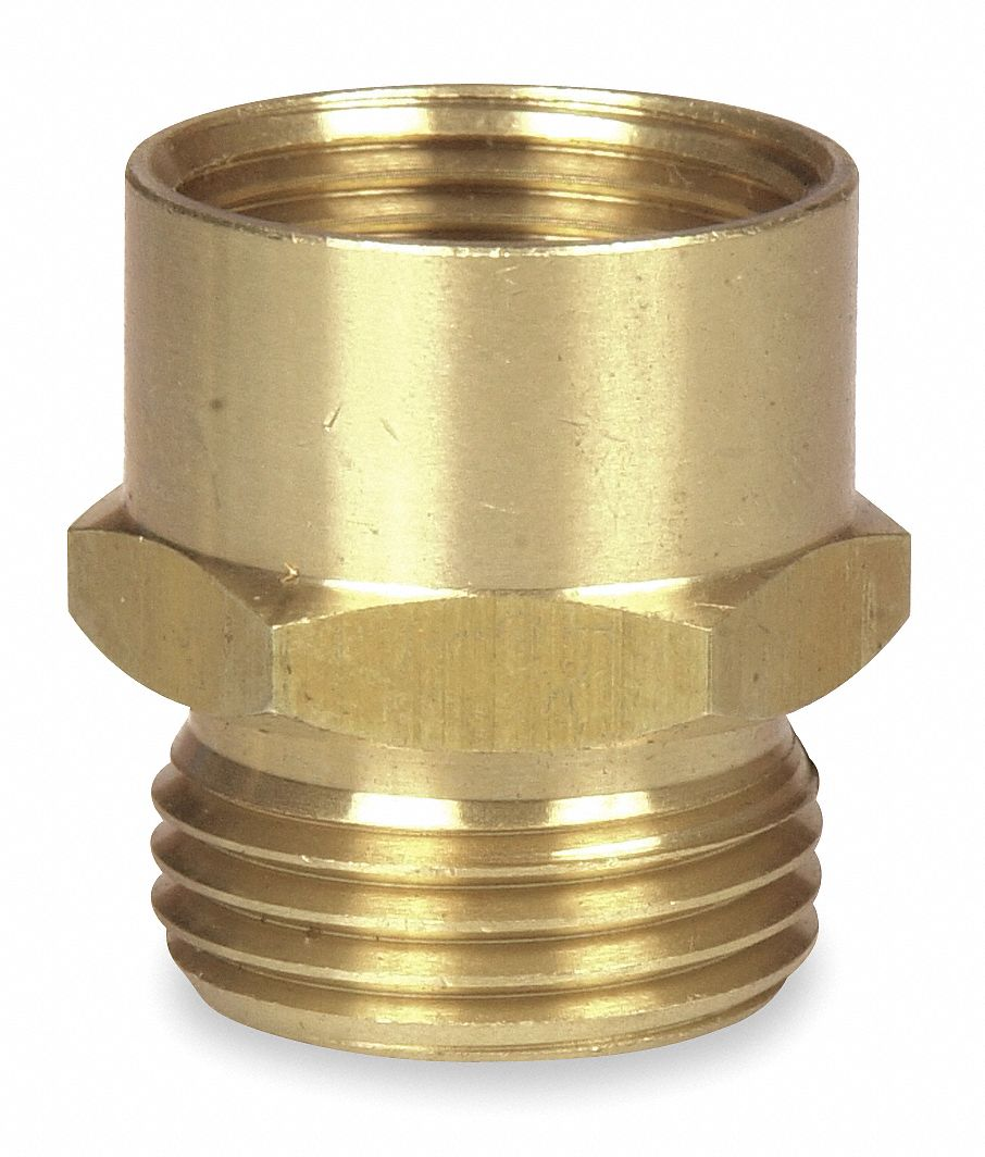 """WESTWARD Brass Hose To Pipe Adapter, 3/4"""" MGHT x 3/4"""" FNPT Connection   Garden Hose Connectors and Adapters   4KG84