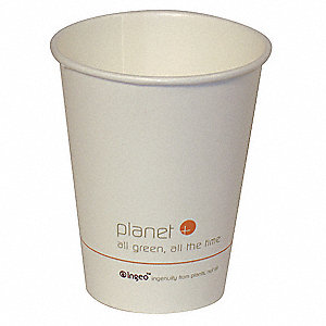 12 oz. Disposable Hot Cup, Biodegradable, PLA Laminated Paper, White, PK 500