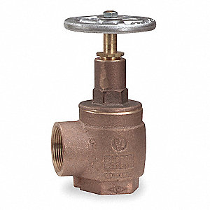 "2-1/2"" Brass Angle Hose Valve, FNPT x FNPT Connection, Rising Stem Type"