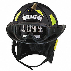 Black Fire Helmet, Shell Material: Fiberglass, Ratchet Suspension, Fits Hat Size: 6-3/8 to 8-3/8""