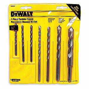 Masonry Drill Bit Set,Straight,7 pcs.