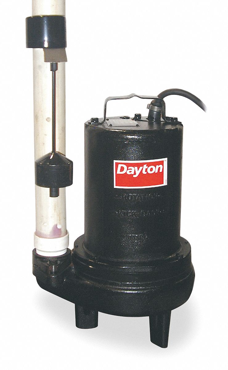 Dayton Sewage Ejector Pump Hp 1 Flow Rate 10 Ft Of