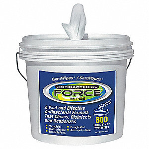 "Antibacterial Force Wipes, 6 x 8"", 800 Wipes per Container, 1 EA"